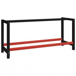 stradeXL Metalowa rama pod blat roboczy, 175x57x79 cm, czarno-czerwona