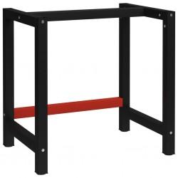 stradeXL Metalowa rama pod blat roboczy, 80x57x79 cm, czarno-czerwona