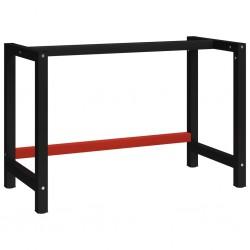 stradeXL Metalowa rama pod blat roboczy, 120x57x79 cm, czarno-czerwona