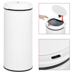 stradeXL Automatic Sensor Dustbin 80 L Carbon Steel White