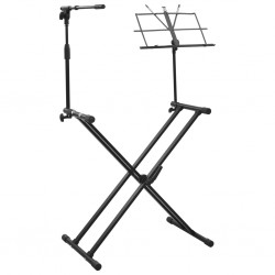 stradeXL Keyboard Stand with Microphone Stand and Book Plate