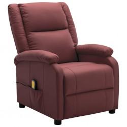 stradeXL Rozkładany fotel masujący, winna czerwień, sztuczna skóra