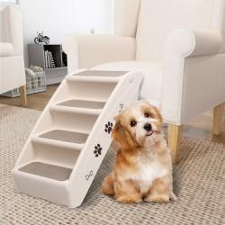 stradeXL Składane schodki dla psa, kremowe, 62 x 40 x 49,5 cm