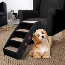 stradeXL Składane schodki dla psa, czarne, 62 x 40 x 49,5 cm