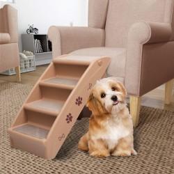 stradeXL Składane schodki dla psa, brązowe, 62 x 40 x 49,5 cm
