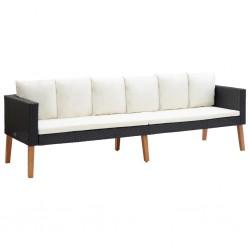 stradeXL 3-osobowa sofa ogrodowa z poduszkami, rattan PE, czarny