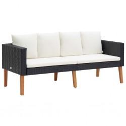 stradeXL 2-osobowa sofa ogrodowa z poduszkami, rattan PE, czarny