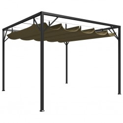 stradeXL Garden Gazebo with Retractable Roof 3x3 m Taupe 180 g/m²