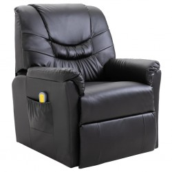 Massage Chair Artificial Leather Black