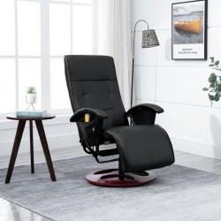 Massage Chair Black Faux Leather