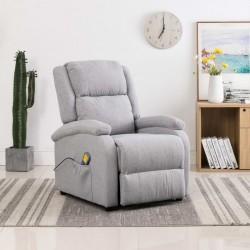 Massage Recliner Light Grey Fabric