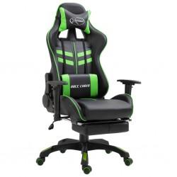 stradeXL Fotel dla gracza z podnóżkiem, zielony, sztuczna skóra