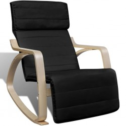 stradeXL Fotel bujany, czarny, gięte drewno i tkanina