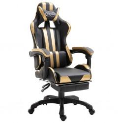 stradeXL Fotel dla gracza z podnóżkiem, złoty, sztuczna skóra