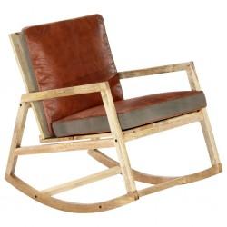 stradeXL Fotel bujany, brązowy, skóra naturalna i lite drewno mango