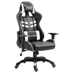 stradeXL Fotel dla gracza, biały, sztuczna skóra