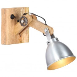 stradeXL Lampa ścienna, srebrna, E27, lite drewno mango i żelazo