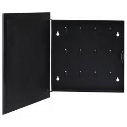 stradeXL Skrzynka na klucze z tablicą magnetyczną, czarna, 35x35x5,5 cm