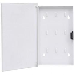 stradeXL Skrzynka na klucze z tablicą magnetyczną, biała, 30x20x5,5 cm