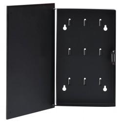stradeXL Skrzynka na klucze z tablicą magnetyczną, czarna, 30x20x5,5 cm