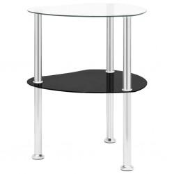 stradeXL 2-poziomowy stolik, 38x38x50 cm, przezroczyste i czarne szkło