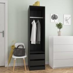stradeXL Szafa z szufladami, czarna, 50x50x200 cm, płyta wiórowa