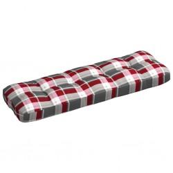 stradeXL Poduszka na sofę ogrodową, czerwona krata, 120x40x12 cm
