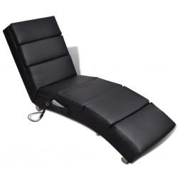 stradeXL Rozkładany fotel masujący, czarny, sztuczna skóra