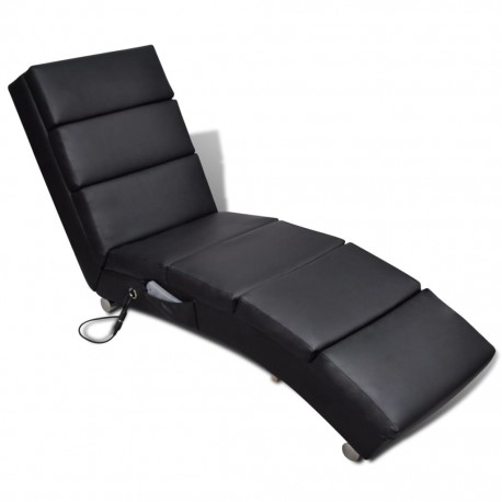 Massage Recliner Black Faux Leather