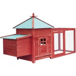 stradeXL Klatka dla kurcząt z gniazdem, czerwona, 193x68x104 cm, jodła