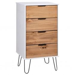 stradeXL Komoda, jasne drewno i biel, 45x39,5x90,3 cm, drewno sosnowe
