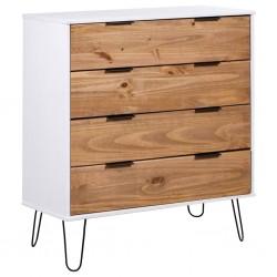 stradeXL Komoda, jasne drewno i biel, 76,5x39,5x90,3 cm, drewno sosnowe