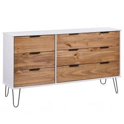 stradeXL Komoda, jasne drewno i biel, 119,3x39,5x73,6 cm, drewno sosnowe