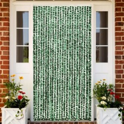 stradeXL Insect Curtain Green and White 100x220 cm Chenille