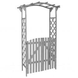 stradeXL Pergola with Gate Grey 120x60x206 cm Solid Firwood