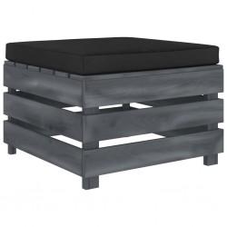 stradeXL Ogrodowy stołek z palet, z czarną poduszką, drewniany