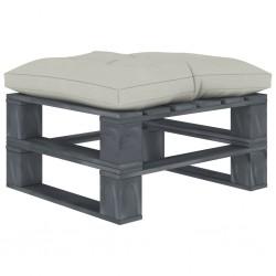 stradeXL Ogrodowy stołek z palet z beżową poduszką, drewniany