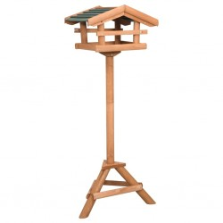 stradeXL Bird Feeder with Stand Firwood