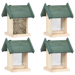 stradeXL Bird Feeders 4 pcs Firwood