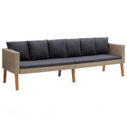 stradeXL 3-osobowa sofa ogrodowa z poduszkami, rattan PE, beż