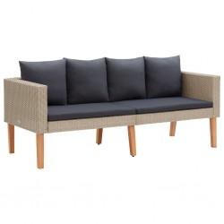 stradeXL 2-osobowa sofa ogrodowa z poduszkami, rattan PE, beż