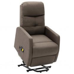 stradeXL Podnoszony fotel masujący, rozkładany, taupe, tkanina
