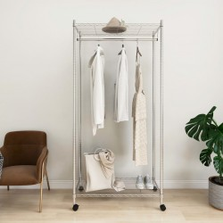 stradeXL 2-Tier Clothes Rack with Wheels 90x45x186 cm Chrome 100 kg