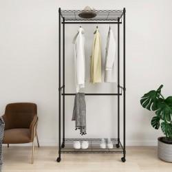 stradeXL 2-Tier Clothes Rack with Wheels 90x45x198 cm Black 100 kg