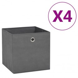 stradeXL Storage Boxes 4 pcs Non-woven Fabric 28x28x28 cm Grey