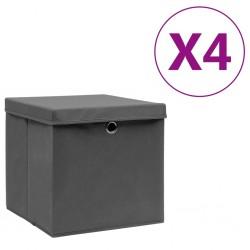 stradeXL Storage Boxes with Covers 4 pcs 28x28x28 cm Grey