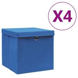 stradeXL Pudełka z pokrywami, 4 szt., 28x28x28 cm, niebieskie