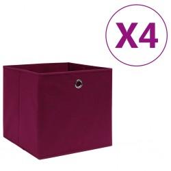 stradeXL Storage Boxes 4 pcs Non-woven Fabric 28x28x28 cm Dark Red