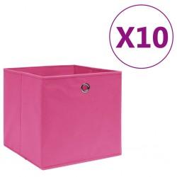 stradeXL Pudełka z włókniny, 10 szt., 28x28x28 cm, różowe