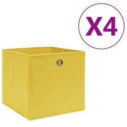 stradeXL Storage Boxes 4 pcs Non-woven Fabric 28x28x28 cm Yellow